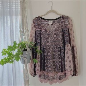 Knox rose pink peasant blouse sz extra small